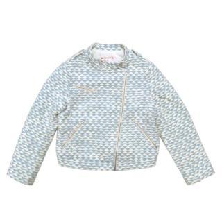 Bonpoint Girls Blue and White Patterned Jacket