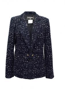 Chanel Navy, Cream and Blue Tweed Jacket