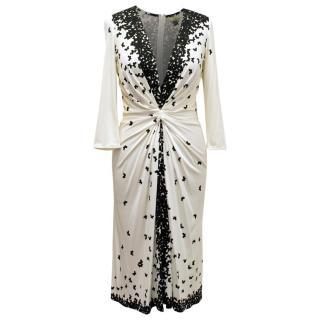 Issa White 3/4 Length Sleeve Pattern Dress
