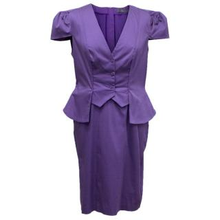 McQ by Alexander McQueen Purple Short Sleeve Peplum Dress