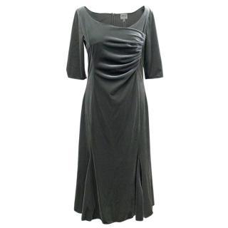 Armani Collezioni Grey Velvet Three Quarter Sleeve Dress