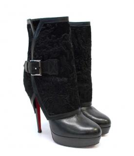 Christian Louboutin Black Boots with Wool Detail