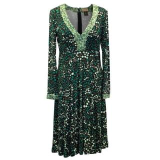 Issa Long Sleeved Green Patterned Dress