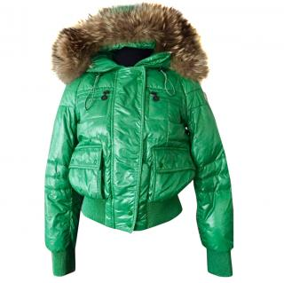 Moncler Green Bomber Jacket with Fox Fur Trim