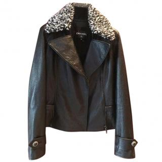 Chanel Black Leather Jacket with Black and White Wool Trim