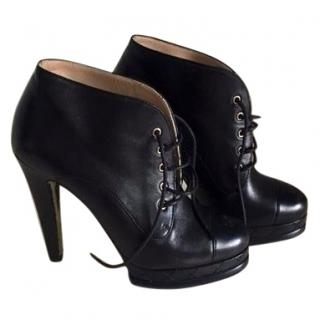 Chanel Black Heeled Ankle Boots