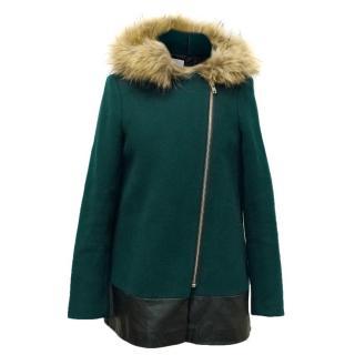 Sandro Green Maxa Fur Trim Coat