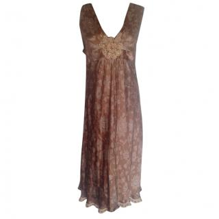 Moschino Cheap and Chic beige floral silk dress