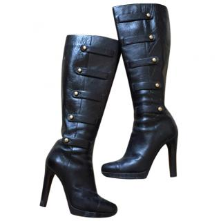 Fendi knee high black leather boots