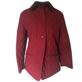 Aquascutum red quilted jacket with brown suede collar
