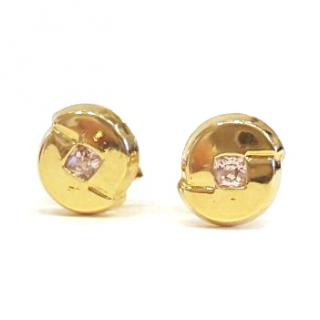 Pink Sapphire Button Earrings 18ct Gold