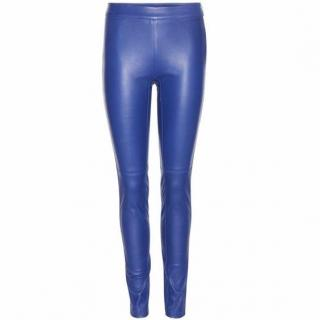 Emilio Pucci blue leather trousers
