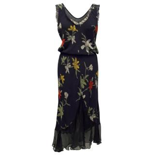 Giorgio Armani Navy Silk Dress with Floral Design