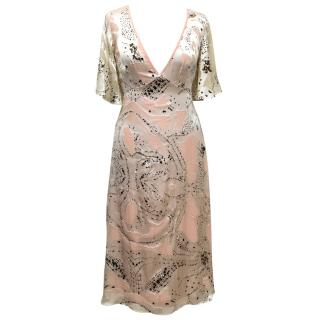 Temperley London Silk Cream And Pink Dress