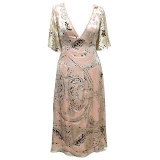 Temperley London Silk Cream And Pink Dress