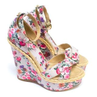 D&G Patent Leather Floral Wedges