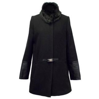 Claudie Pierlot Black Gervais Coat with Racoon Fur Collar