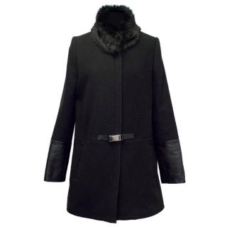 Claudie Pierlot Black Gervais Coat with Racoon Fur Collar
