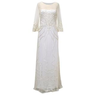 Alice by Temperley White Mesh Ezra Dress with Embroidery