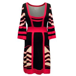 Temperley Black and Pink Three Quarter Sleeve Dress