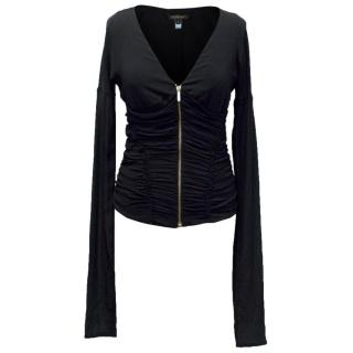 Roberto Cavalli Black Ruched Top with Gold Zip