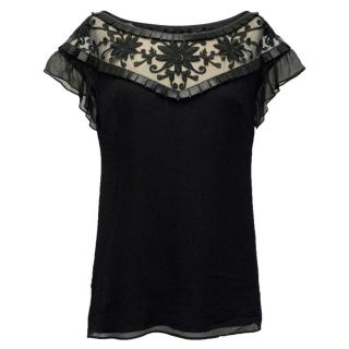 Alice by Temperley Black Top with Mesh Detail