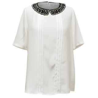Claudie Pierlot White Silk Top With Black Collar