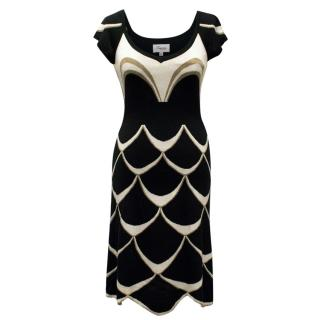 Temperley London Silk Black Dress With Scallop Pattern