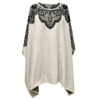 Alice by Temperley Black and Beige Floral Lace Poncho
