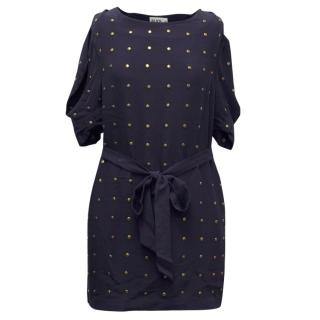 Alice By Temperley Navy Dress With Copper Studs