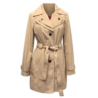 Calvin Klein Khaki Trench Coat With Red Lining
