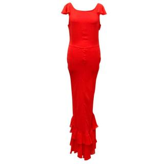 Kate Moss for Topshop Red Ruffle Maxi Dress
