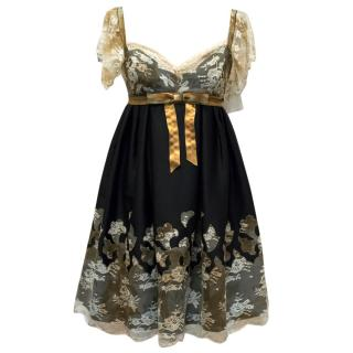 Anna Sui Black Dress With Cream Lace