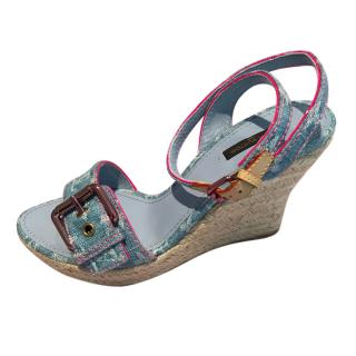 Louis Vuitton Rosa Wedge Ankle Strap Sandal