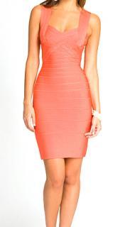 Herve Leger Coral Bandage dress