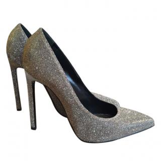 Yves Saint Laurent Silver Stilettos