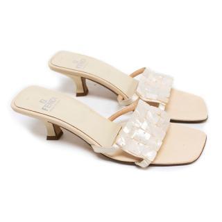 Fendi Cream Heeled Sandals