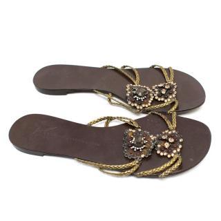 Giuseppe Zanotti Brown Flat Sandals With Embellishment