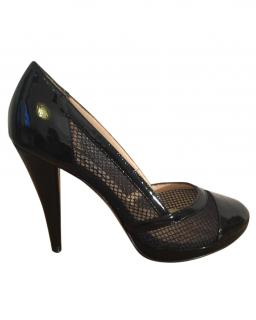 Lucy Choi black patent leather mesh high heel court shoe