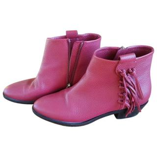 Valentino Pink leather western boots