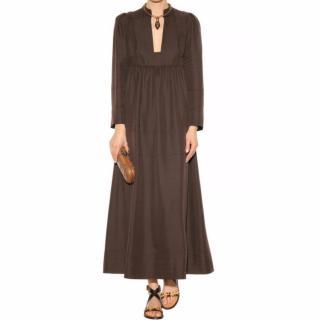 Valentino Brown Silk Maxi Dress