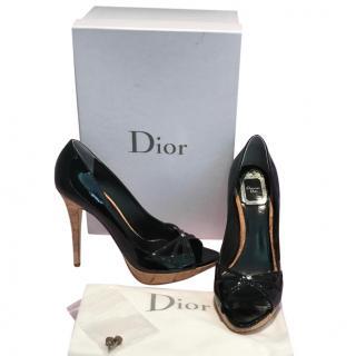 Christian Dior Black Patent Peep Toe Cork Heeled Shoe