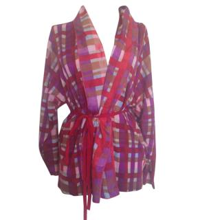 Mi Missoni lightweight wool colorful open belted blouse
