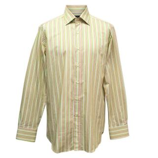 Etro Men's White, Green, Pink and Yellow Striped Shirt