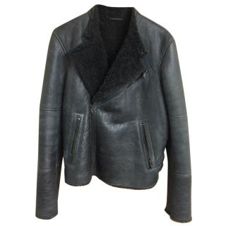 LOT78 Shearling-Lined Leather Biker Jacket