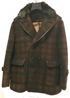 Burberry Prorsum Shearling Men's Peacoat with Mink Collar