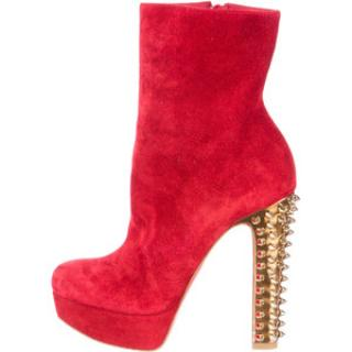 New Christian Louboutin Taclou red suede boots, size 37.5