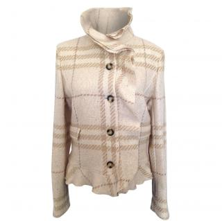 Burberry beige check lurex short tweed blazer