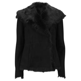 Joseph Black Anais Short Shearling Suede Jacket
