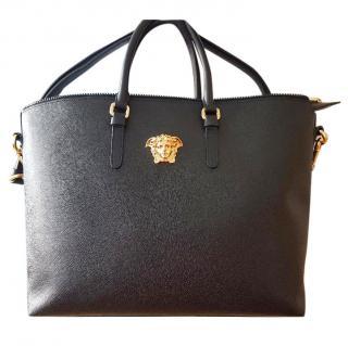 Versace medusa black leather tote bag